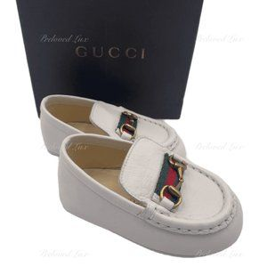 Authent Gucci Baby white leather Shoes EU 18
